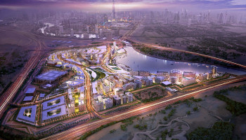 Dubai Design District - D3 - arial image of Master Plan that positions Dubai as a global center of design. Combining the high growth fashion, luxury and art markets with cutting-edge design from industrial and architectural to graphic and digital. Image: Woods Bagot
